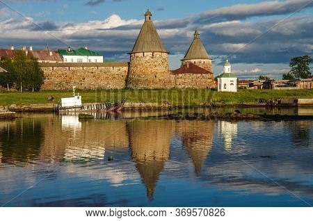 Solovki, Republic Of Karelia, Russia - August, 2017: Evening View On Solovetsky Monastery From The W
