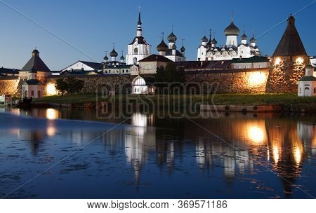 Solovki, Republic Of Karelia, Russia - August, 2017: Solovki Monastery At Summer Night