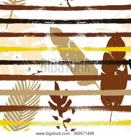 Sailor Stripes Vector Seamless Pattern, Brown Yellow Earth Tone Exotic Fabric. Botanical Jungle Leav