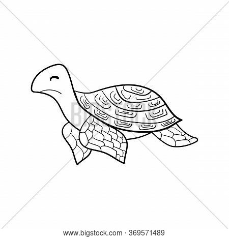 Coloring Book. A Hand-drawn Terrapin, Water Turtle. Monochrome Simple Doodle Vector Illustration