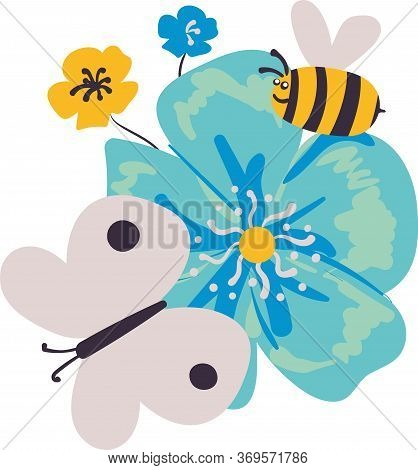 Childish Bee Butterfly And Flowers Vector Illustration. Placement Print For Fabrics, Stationery, Scr