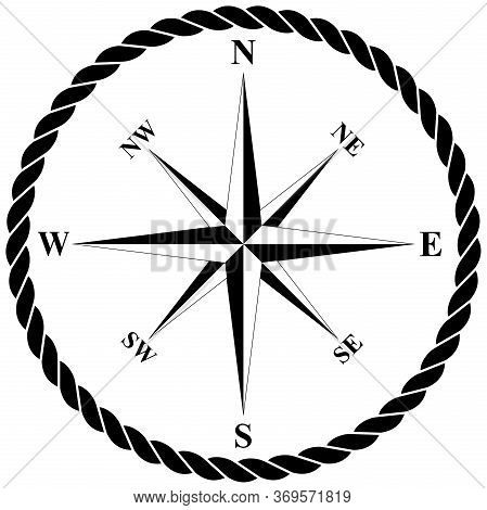 Compass Rose Vector With Nautical Rope On Isolated White Background.