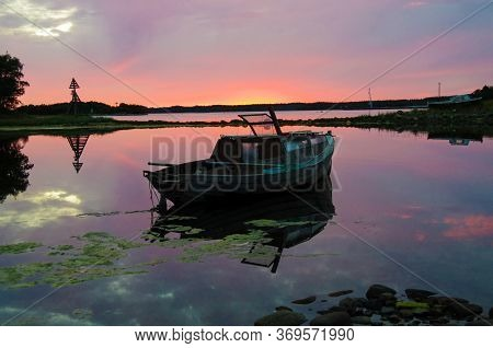 Solovki, Republic Of Karelia, Russia - August, 2017: Sunset On The Solovetsky Islands, Russia
