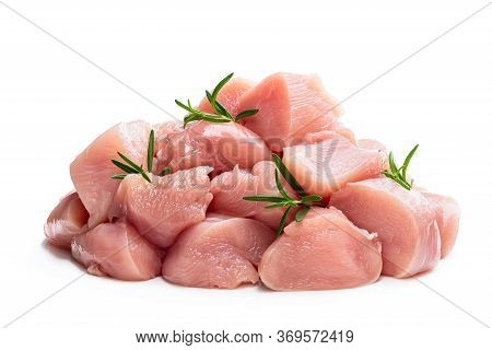Raw Chicken  Breast Fillet Chunks With Rosemary Herb Isolated On White