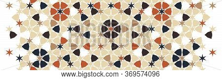 Moroccan, Islamic Pattern. Tile Seamless Vector Pattern. Geometric Halftone Border With Moroccan Mos