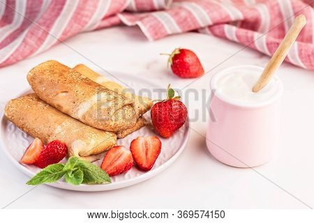 Morning Breakfast. Pancakes Stuffed With Cottage Cheese And Strawberry Berries.
