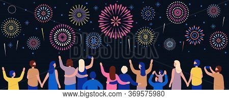 Crowd Watching Fireworks. Happy People See To Firework At Night, People Celebration Illustration, Ho