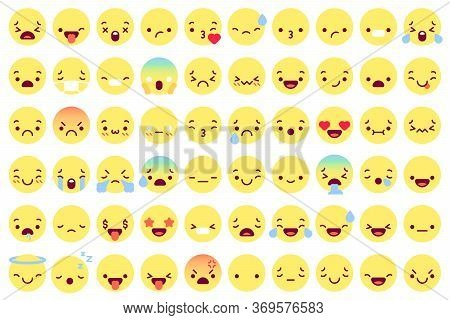 Flat Emoji Faces. Flat Emoticon Smiling Avatars With Different Face Emotions. Happy, Sad And Winking