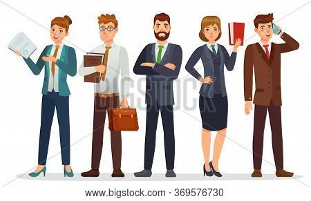 Lawyers Team. Legal Department, Business Or Financial Lawyer. Professional Attorneys Cartoon Charact