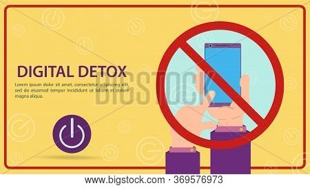 Digital Detoxification, Sign Prohibiting The Use Of A Mobile Smartphone, Hand Turns Off The Gadget I
