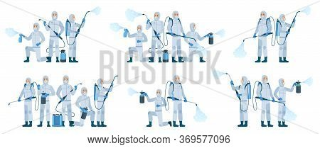 Antiviral Disinfection. People Wearing Protective Suits Masks Use Sanitizer Spray. Disinfection Team