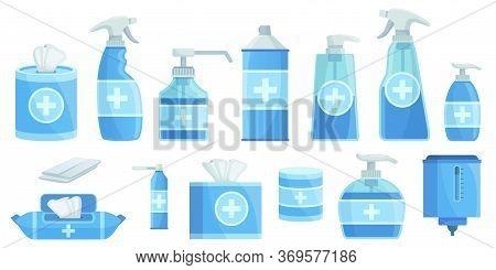 Cartoon Disinfectants. Disinfection Alcohol Spray, Antiseptic Sanitizer Dispenser And Liquid Disinfe