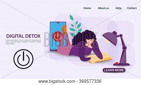 Digital Detoxification, Banner Concept For Web And Mobile Sites, Girl Lying And Reading A Book Under
