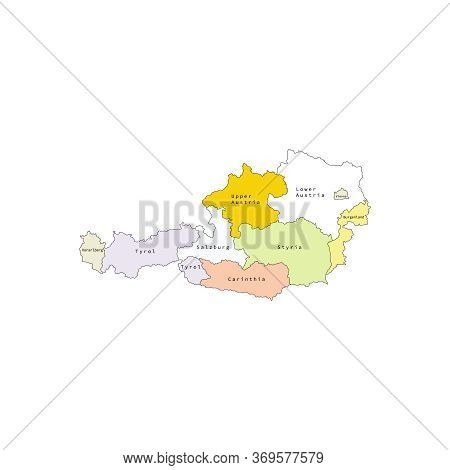 Vector Outline Administrative Division Map Of Austria. Vector Map.
