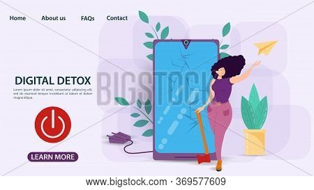 Digital Detox, Banner Concept For Web And Mobile Sites, Woman Smashed Phone With An Axe, Power Off B