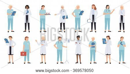 Nurse And Doctors. Women Doctors Team. Medical Staff Doctor And Nurse, Medics, Professional Paramedi