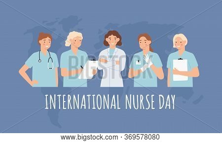 International Nurse Day. Clinical Professional Nurses, Women Doctors In Medical Gowns And Stethoscop