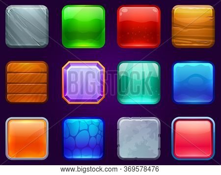 Game Ui Square Buttons. Metal Steel, Wooden And Diamond Button Frame. Cartoon Glossy Buttons For Kid