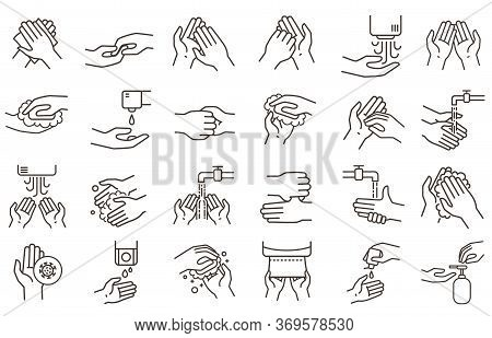 Hand Washing And Disinfection Icons. Hands Sanitizer, Rub With Soap And Germs Protection. Clean Hand