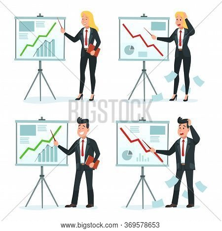 Businessman And Businesswoman Making Presentation. Vector Businessperson Presentation, Business Woma
