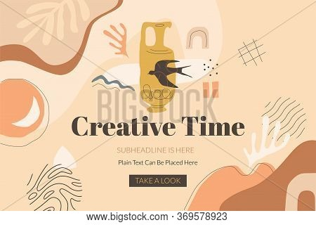 Creative Time Banner Template With Clay Jug, Swallow Bird And Abstract Shapes. Modern Design In Terr