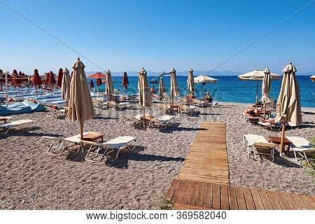 Rhodes, Greece - May 13, 2018: Popular Ellie Beach In Rhodes Town. Greece