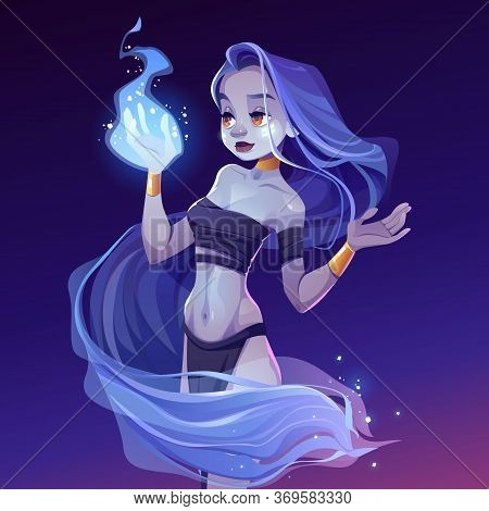 Magic Woman, Nymph Looking On Wizard Fire On Hand. Beautiful Witch Wear Loincloth, Top And Gold Jewe