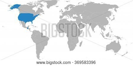Guatemala, Usa Countries Isolated On World Map. Light Gray Background. Business Concepts, Diplomatic