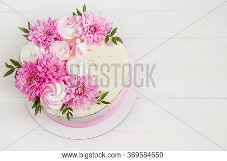 Pink Cake. Meringues And Pink Flowers On The Top Of Cake . Concept For Wedding , St. Valentine's Day