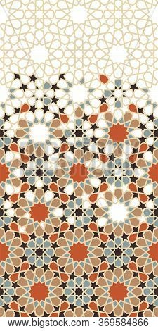 Moroccan Star, Flower Seamless Vector Pattern. Geometric Halftone Pattern With Color Moroccan Arabes