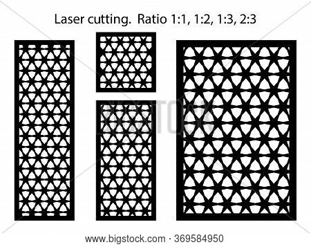 Laser Pattern Kit, Bundle. Set Of Decorative Vector Panels Or Screens For Laser Cutting. Template Fo