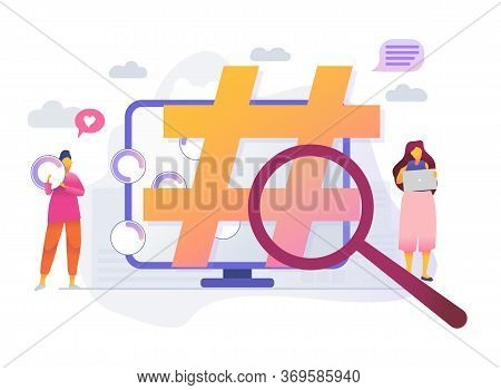 Cartoon Icon With Hashtag With Characters. Viral Marketing, Trends Analysis, Modern Advertising Busi