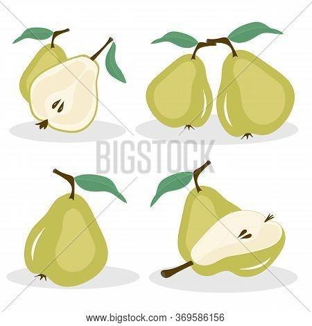 Vector Pears. Whole And Cut In Half Green Pear Fruits, Collection Of Vector Illustrations On White B
