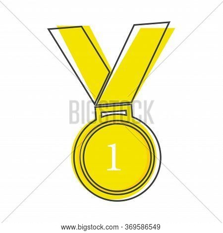 Vector Icon Medal. Medal Of Courage, Congratulation, First Place Cartoon Style On White Isolated Bac
