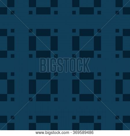 Vector Geometric Seamless Pattern With Big And Small Squares, Floral Shapes, Tiles. Subtle Abstract