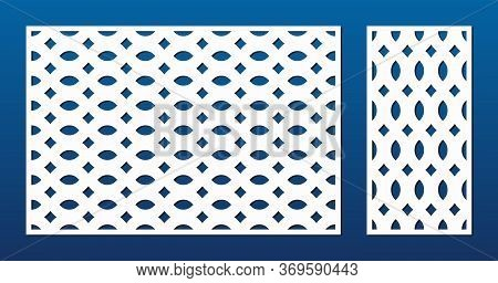 Laser Cut Pattern. Vector Template With Abstract Geometric Ornament, Grid, Mesh, Net, Lattice. Decor