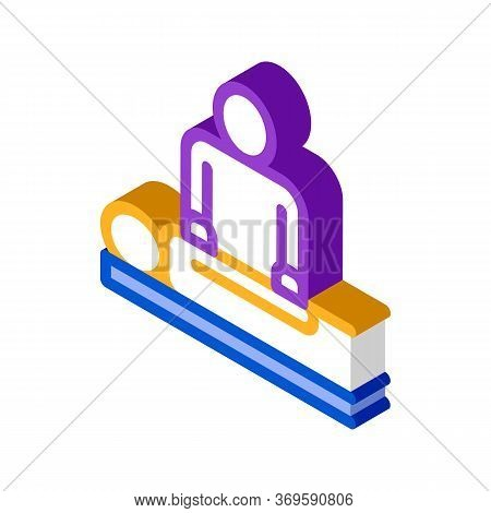 Orthopedic Masseur With Patient Silhouette Vector Isometric Sign. Color Isolated Symbol Illustration