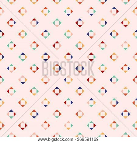 Vector Geometric Seamless Pattern. Simple Abstract Ornament With Small Diamond Shapes, Squares, Tria