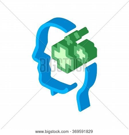 Medicine Crosses Man Silhouette Headache Vector Isometric Sign. Color Isolated Symbol Illustration