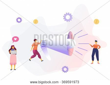 Word Of Mouth Promotion Flat Vector Illustration. Creative Digital Advertising Campaign, Agitational