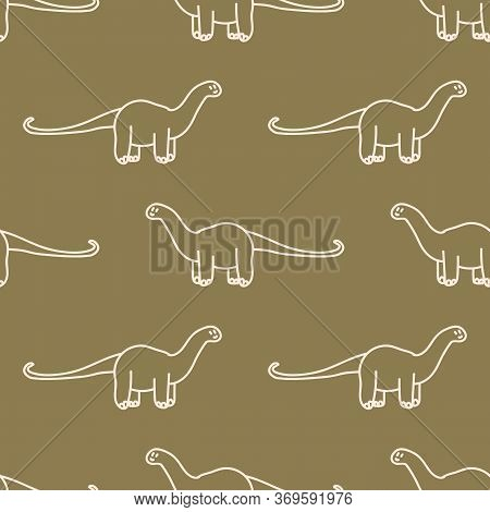 Seamless Background Simple Apatosaurus Dinosaur Gender Neutral Baby Pattern. Whimsical Minimal Earth