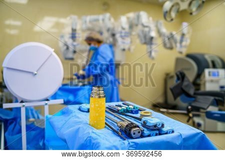 Modern Surgical System. Medical Robot. Minimally Invasive Robotic Surgery. Da Vinci Surgery.