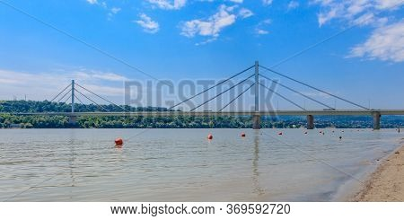 Cable-stayed Liberty Bridge On The Danube River In Novi Sad, Serbia