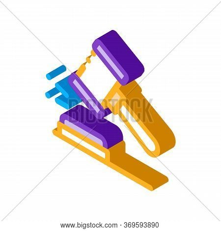 Court Gavel Law And Judgement Icon Vector Isometric Sign. Color Isolated Symbol Illustration