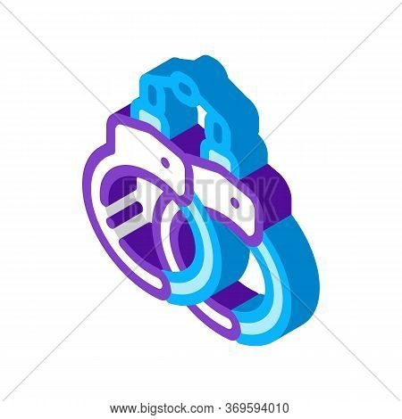 Handcuffs Law And Judgement Icon Vector Isometric Sign. Color Isolated Symbol Illustration