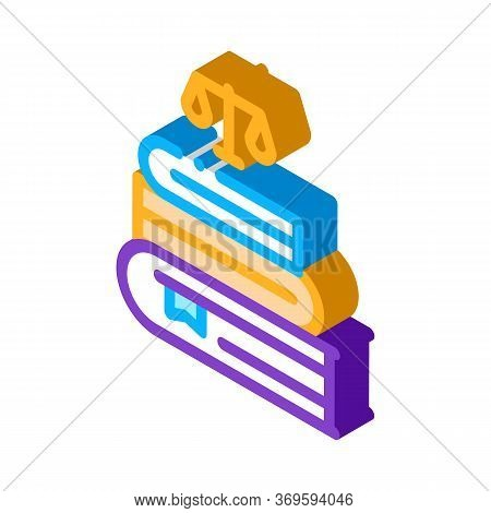 Justice Books Law And Judgement Icon Vector Isometric Sign. Color Isolated Symbol Illustration