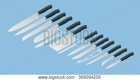 Isometric Knives Butcher Meat Knife Set. Cleaver, Filleting, French, Boning, Carving. Kitchen Drawkn