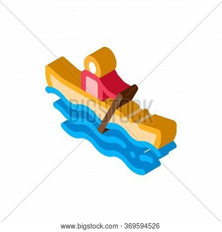 Rowing Boat Canoeing Icon Vector Isometric Sign. Color Isolated Symbol Illustration