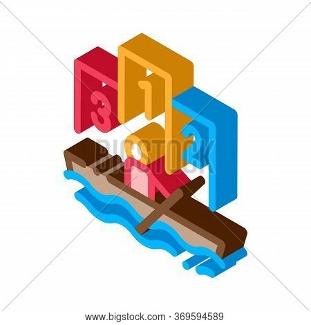 Boat Rowing Competition Canoeing Icon Vector Isometric Sign. Color Isolated Symbol Illustration
