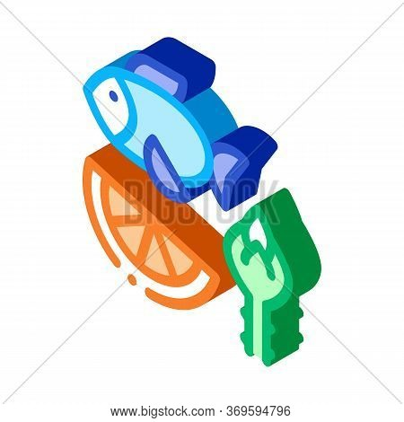 Nutrients Of Fish And Fruit Biohacking Icon Vector Isometric Sign. Color Isolated Symbol Illustratio